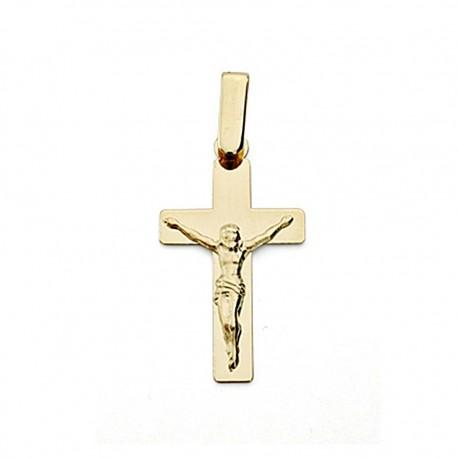 Crucifijo oro 18k Cristo 22mm. plana [7980]