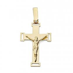 Crucifijo oro 18k Cristo cruz calada plana unisex