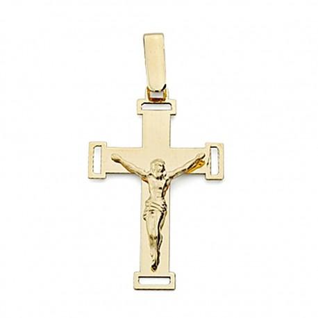 Crucifijo oro 18k Cristo calada plana grande [7982]