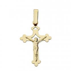 Crucifijo oro 18k Cristo cruz calada plana unisex terminaciones formas redondeadas