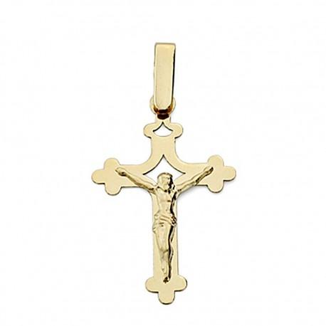 Crucifijo oro 18k Cristo calada plana grande [7983]