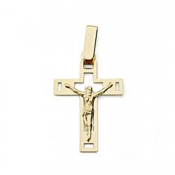 Crucifijo oro 18k Cristo cruz 22mm. calada plana unisex formas rectangulares