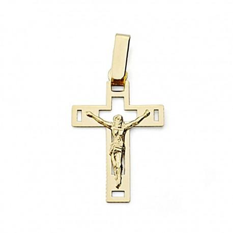Crucifijo oro 18k Cristo 22mm. calada plana [7984]