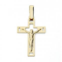 Crucifijo oro 18k Cristo 25mm. calada plana [7985]