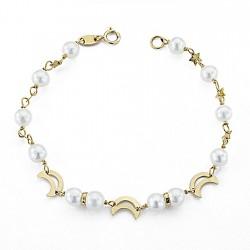 Pulsera oro 18k 16,5cm. perlas motivos [7988]