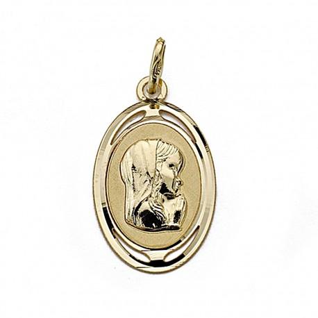 Medalla oro 18k Virgen Niña 21mm. oval [7996]