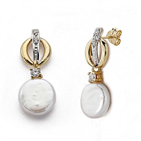 Pendientes oro 18k bicolor largos perla Coín 22mm. circonitas [8005]