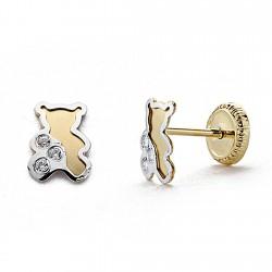 Pendientes oro 18k bicolor 6mm. circonita oso tornillo [8012]