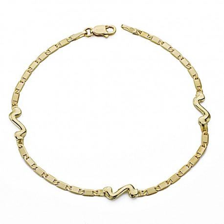 Pulsera oro 18k fina 18cm. motivos [8043]