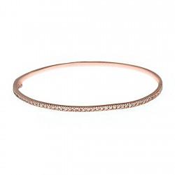 Pulsera brazalete plata ley 925m rosa rígida circonitas [8144]
