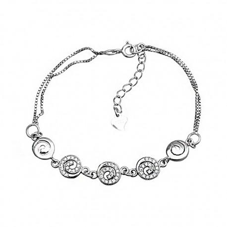 Pulsera plata ley 925m entrepiezas espiral circonitas brillo [8152]