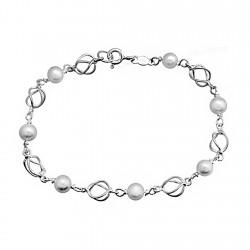 Pulsera plata ley 925m jaula perla 5,5mm cultivada [8183]