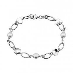 Pulsera plata ley 925m perlas flores chapas brillo [8187]