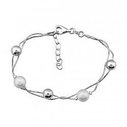 Pulsera plata ley 925m 2 perlas 3 bolas [8193]