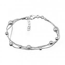 Pulsera plata ley 925m 3 cadenas bolas brillo y perlas [8194]
