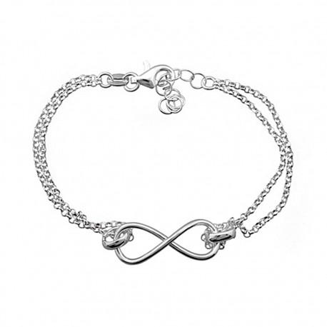 Pulsera plata ley 925m 2 cadenas infinity amor infinito [8202]