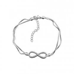 Pulsera plata ley 925m doble cadena motivo infinto infinity [8220]