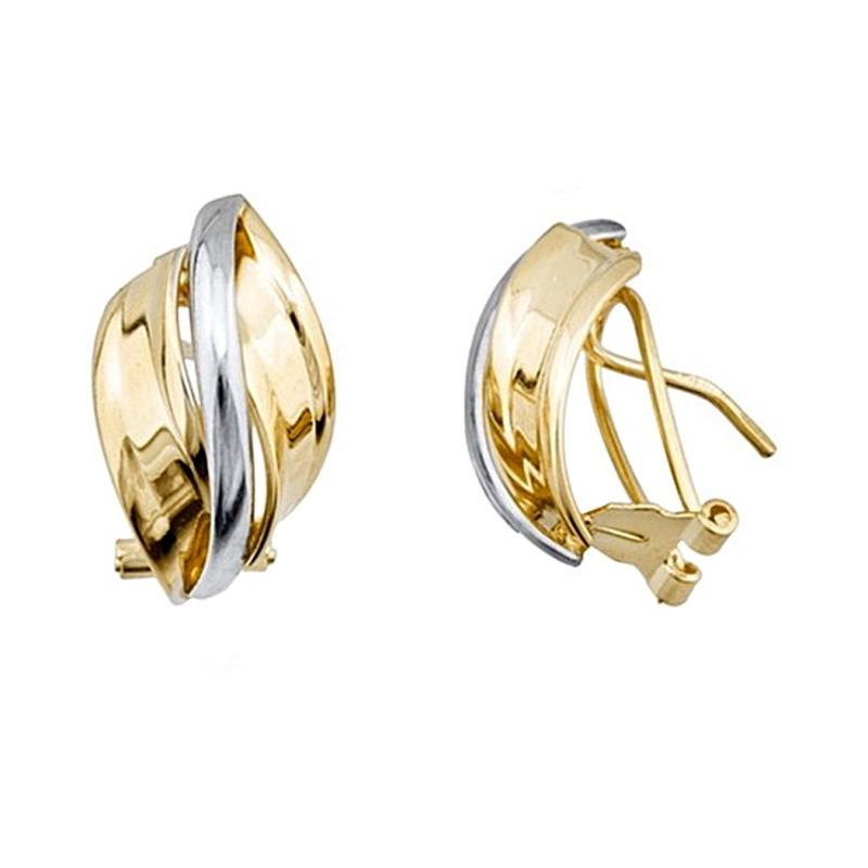 la mejor actitud 47c09 73514 Pendientes oro 18k bicolor bandas onduladas lisas cierre omega [8277]