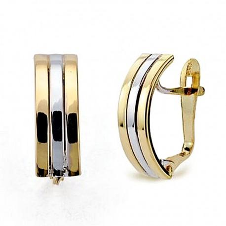 Pendientes oro 18k bicolor 3 bandas lisas 14x5mm. [8288]