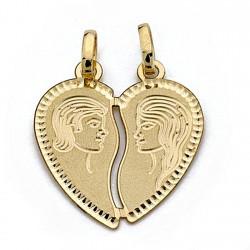 Colgante oro 18k enamorados corazón partido 22mm. [8314]