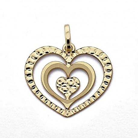 Colgante oro 18k corazones calados [8316]