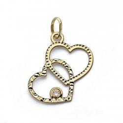 Colgante oro 18k dos corazones circonita [8317]