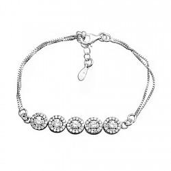 Pulsera plata Ley 925m 16.5cm. doble cadena rodiada 5 entrepiezas circulares circonitas