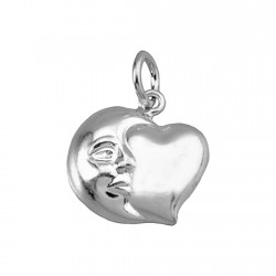 Colgante plata Ley 925m corazón rostro luna [8337]
