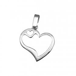 Colgante plata Ley 925m corazón brillo calado [8339]