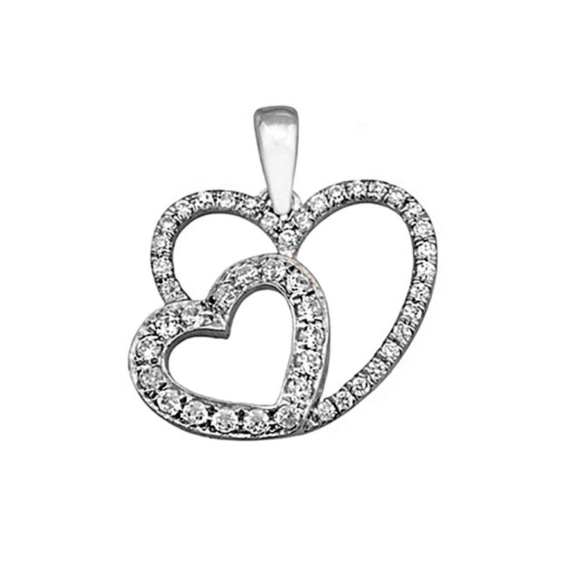 d9b1316fd693 Colgante plata Ley 925m dos corazones circonitas  8351