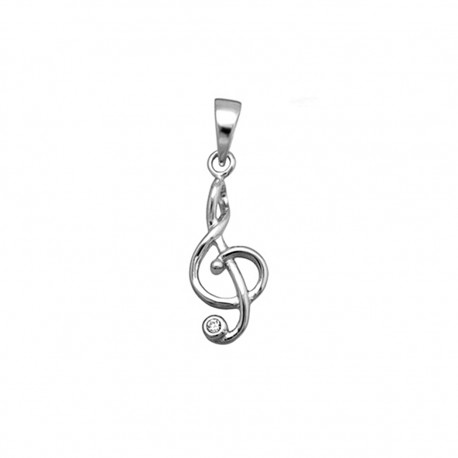Colgante plata Ley 925m nota musical brillo [8356]