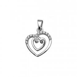 Colgane plata Ley 925m corazones fusionados circonitas brillo [8362]