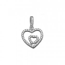 Colgante plata Ley 925m corazones fusionados circonitas y asa [8368]