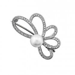 Alfiler plata Ley 925m flor perla 9mm. multipiedra [8394]