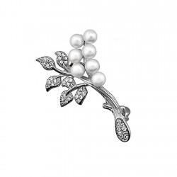 Alfiler plata Ley 925m rama perlas circonitas [8391]
