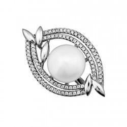 Alfiler plata Ley 925m perla 12mm. forma ovalada circonitas [8388]