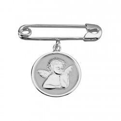 Alfiler plata Ley 925m imperdible bebé ángel 15mm. [8387]