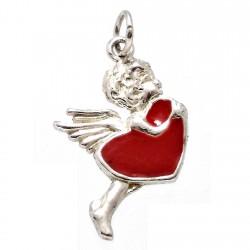 Colgante plata Ley 925m Cupido rojo esmalte [1157]
