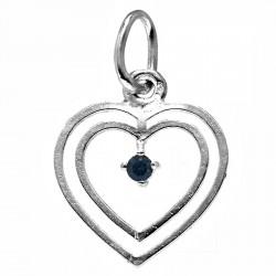 Colgante plata Ley 925m corazón piedra azul calado [1210]