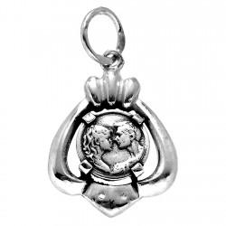 Colgante plata Ley 925m medalla pareja enamorados beso [1213]