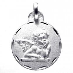 Medalla plata Ley 925m Querubín 18mm. liso detrás [8243]