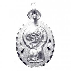 Medalla plata Ley 925m Virgen Nina 24mm. ovalada [8244]