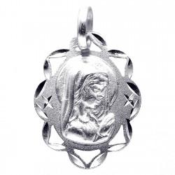 Medalla plata Ley 925m Virgen Niña 21mm. calada ovalada [8246]