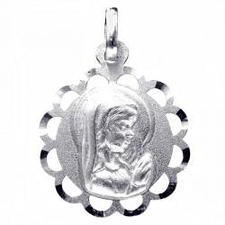 Medalla plata Ley 925m Virgen Niña 18mm. calada redonda niña