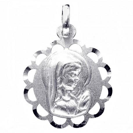 Medalla plata Ley 925m Virgen Niña 18mm. calada redonda [8248]