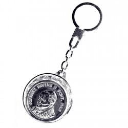 Llavero plata Ley 925m Papa Juan Pablo II escudo Santa Sede [1368]