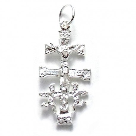 Cruz Caravaca plata Ley 925m 30mm. Cristo realce [1352]