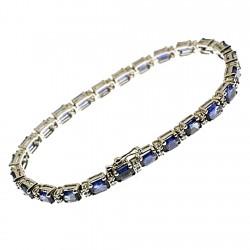 Pulsera oro blanco 18k diamantes brillantes 0,77ct. zafiros [8742]