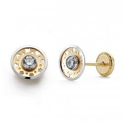 Pendientes oro 18k bicolor redondo 7mm. circonita tornillo [8749]