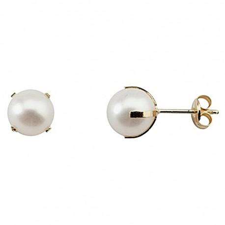 Pendientes oro 18k perla cultivada 8mm. [8753]